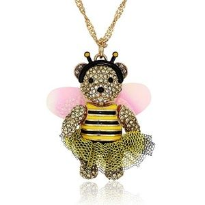 Betsey Johnson Teddy Bear Bumbee Necklace